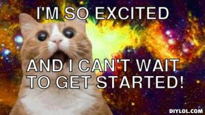 excited space cat